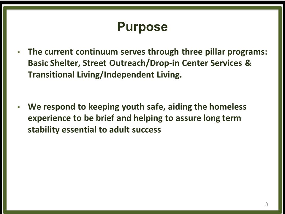 Purpose  The current continuum serves through three pillar programs: Basic Shelter, Street Outreach/Drop-in Center Services & Transitional Living/Independent Living.