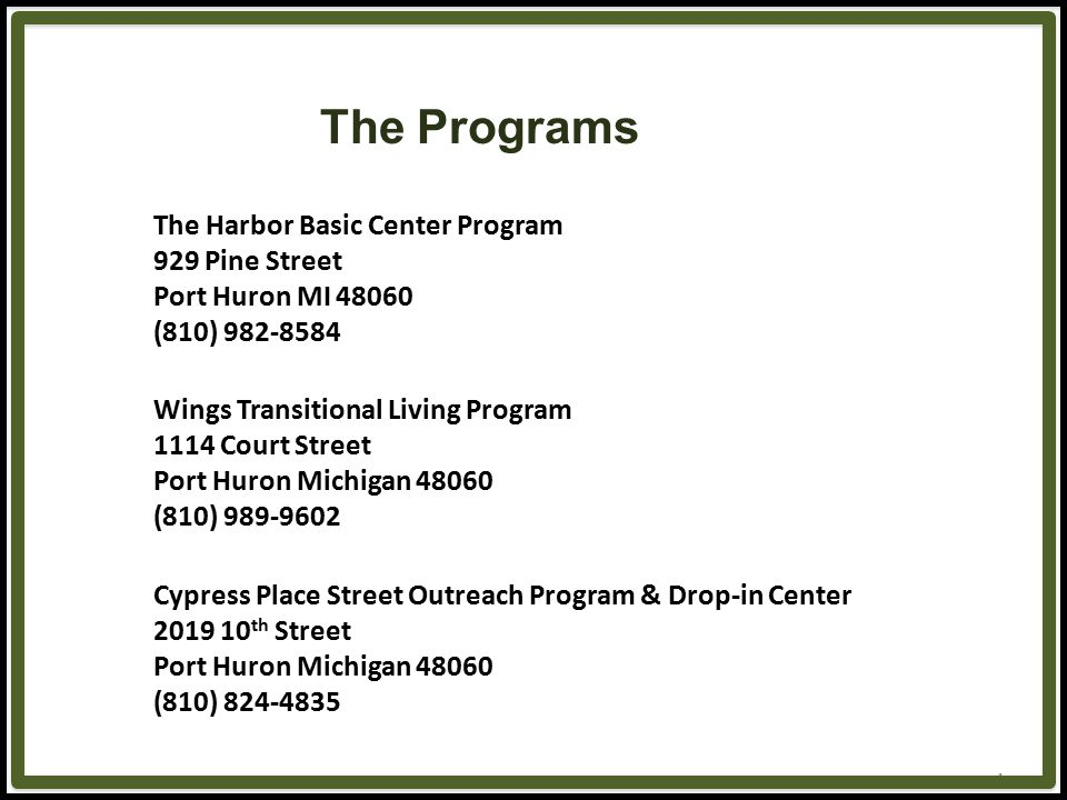 4 The Programs The Harbor Basic Center Program 929 Pine Street Port Huron MI 48060 (810) 982-8584 Wings Transitional Living Program 1114 Court Street Port Huron Michigan 48060 (810) 989-9602 Cypress Place Street Outreach Program & Drop-in Center 2019 10 th Street Port Huron Michigan 48060 (810) 824-4835