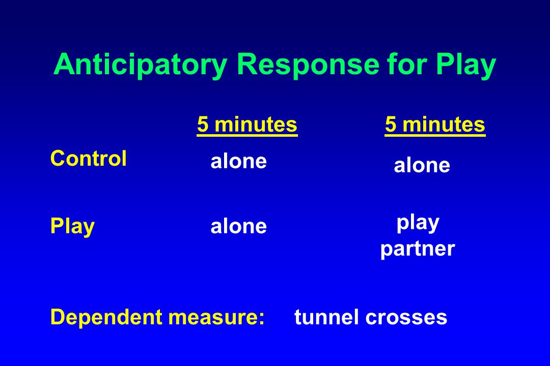 Anticipatory Response for Play Control Play 5 minutes alone play partner Dependent measure:tunnel crosses