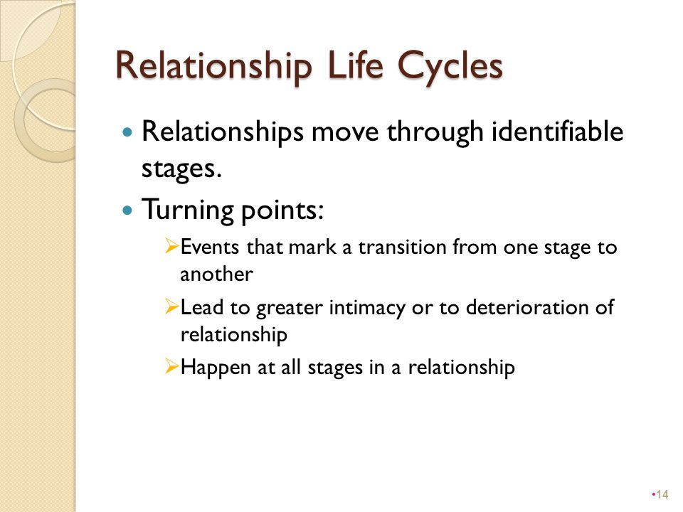 Relationship Life Cycles Relationships move through identifiable stages. Turning points:  Events that mark a transition from one stage to another  L
