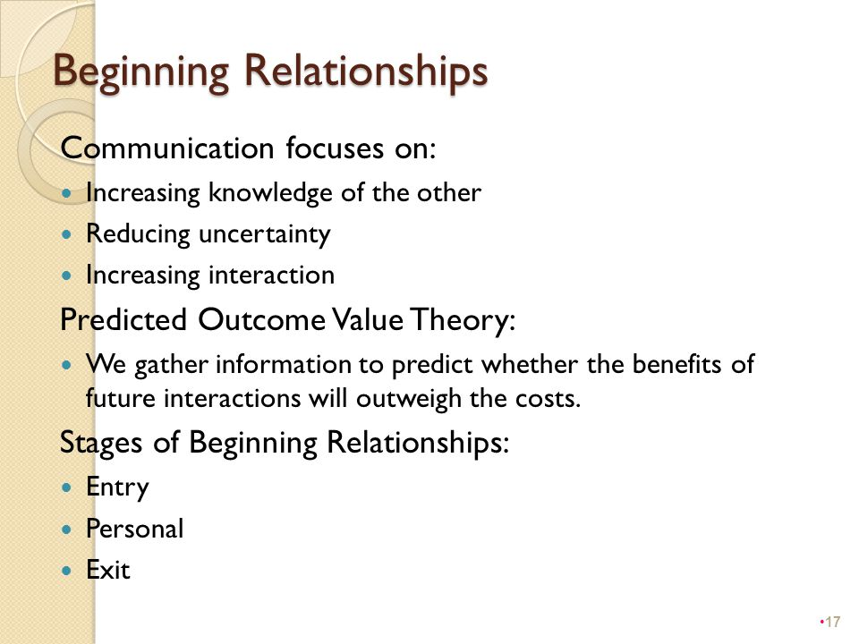 Beginning Relationships Communication focuses on: Increasing knowledge of the other Reducing uncertainty Increasing interaction Predicted Outcome Valu