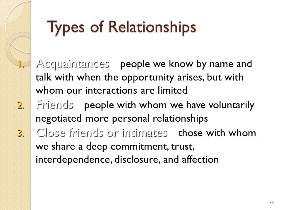 Types of Relationships 1. Acquaintances 1. Acquaintances – people we know by name and talk with when the opportunity arises, but with whom our interac