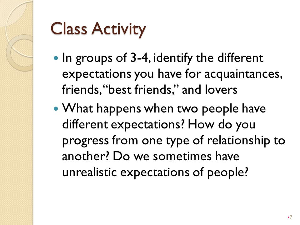 "Class Activity In groups of 3-4, identify the different expectations you have for acquaintances, friends, ""best friends,"" and lovers What happens when"