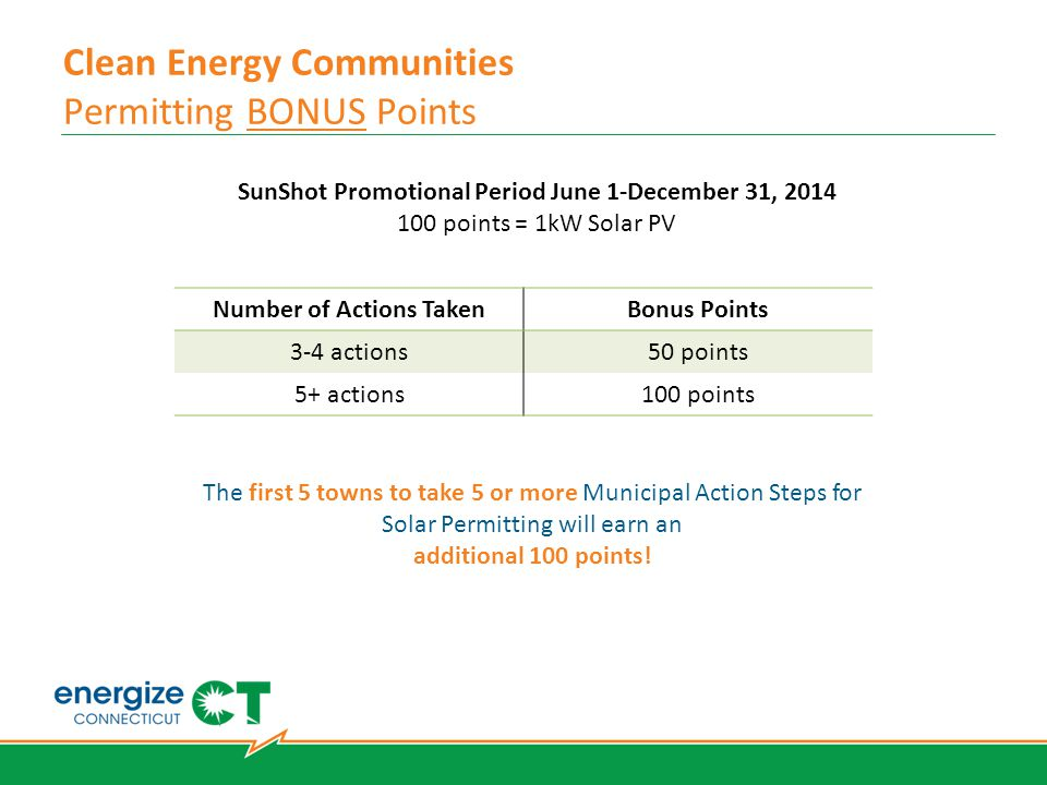 Clean Energy Communities Permitting BONUS Points SunShot Promotional Period June 1-December 31, 2014 100 points = 1kW Solar PV Number of Actions TakenBonus Points 3-4 actions50 points 5+ actions100 points The first 5 towns to take 5 or more Municipal Action Steps for Solar Permitting will earn an additional 100 points!