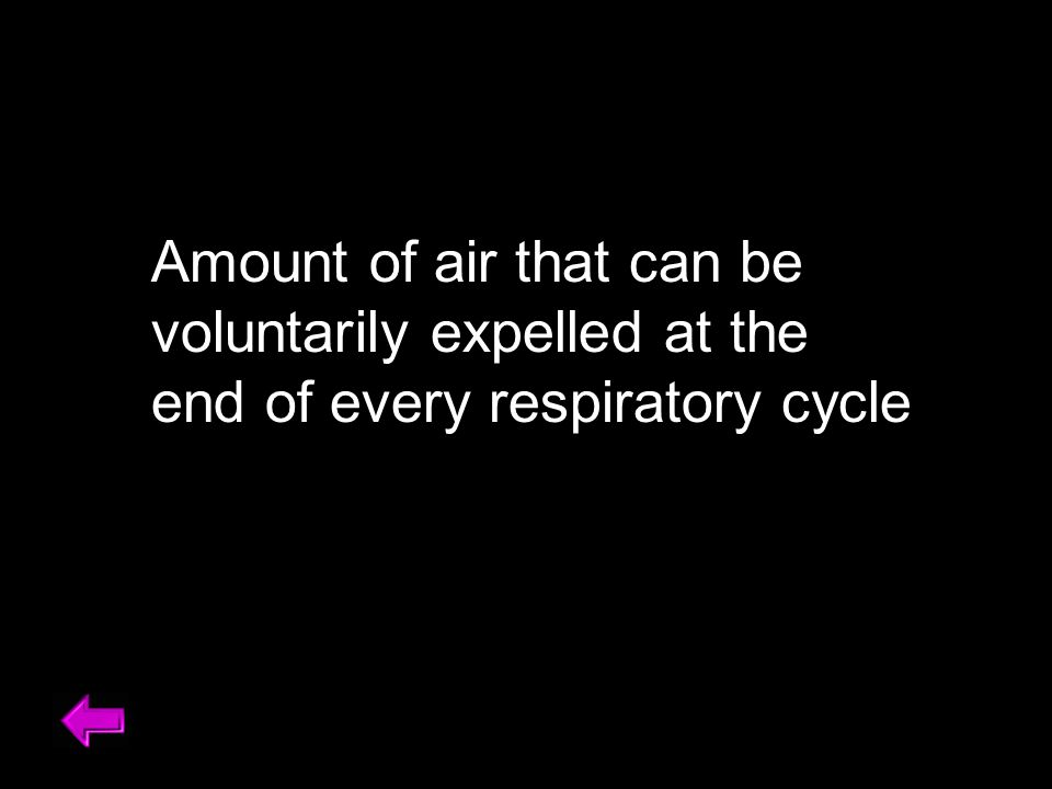 Amount of air that could be voluntarily expelled at the end of a respiratory cycle Amount of air that can be voluntarily expelled at the end of every respiratory cycle