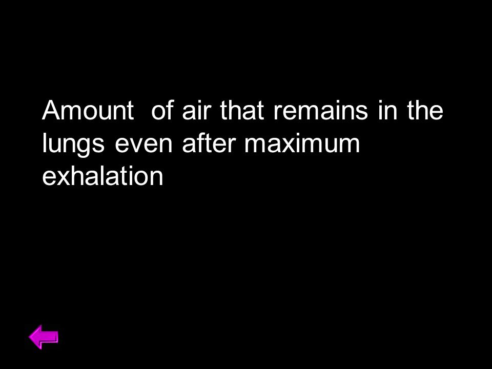 Amount of air that remains in the lungs even after maximum exhalation Amount of air that remains in your lungs even after a maximal exhalation