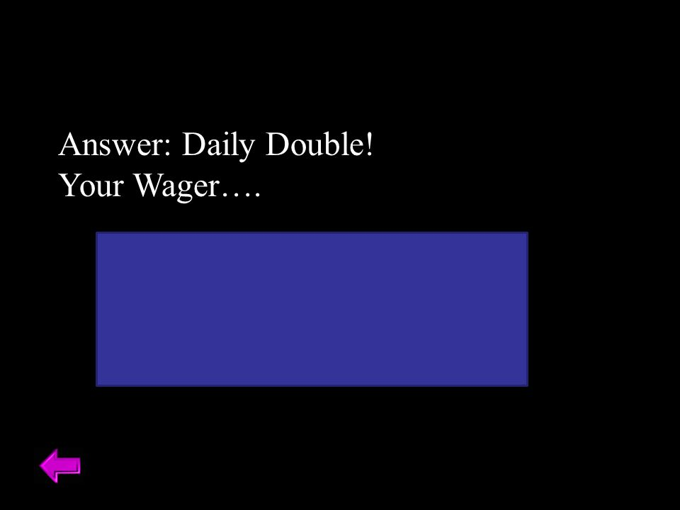 Answer: Daily Double. Your Wager….