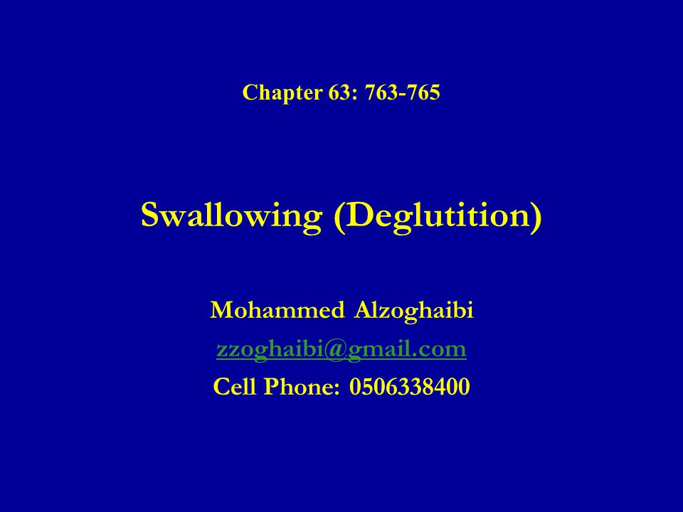 Ingestion of Food(continued) ● Nervous initiation of the pharyngeal stage of swallowing.