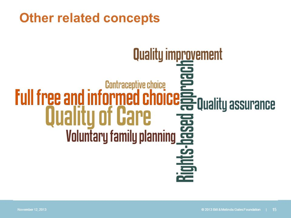 November 12, 2013 © 2013 Bill & Melinda Gates Foundation | 15 CREATE A WORD CLOUD:  Rights-based approach  Voluntary FP  Full, free and informed choice  Contraceptive choice  Quality of Care  Quality assurance/ improvement Other related concepts