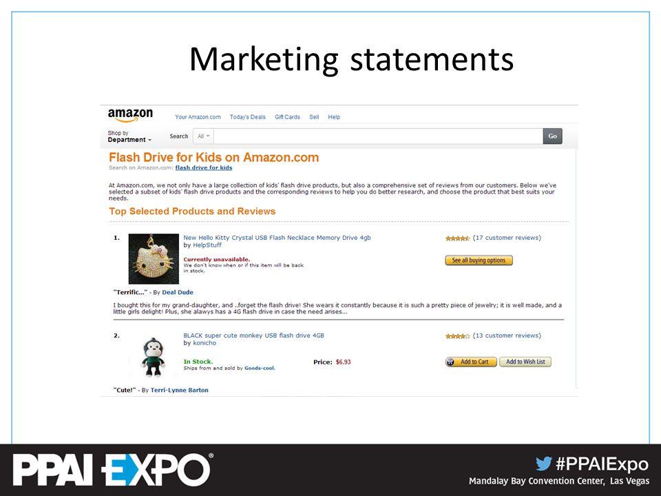 Marketing statements