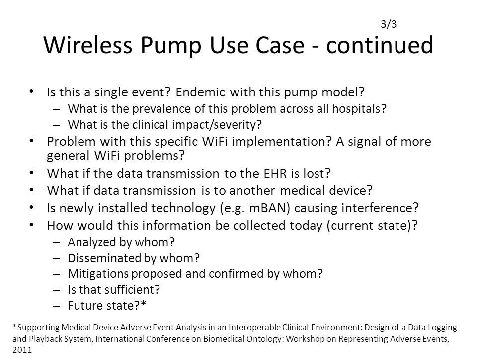 Wireless Pump Use Case - continued Is this a single event.