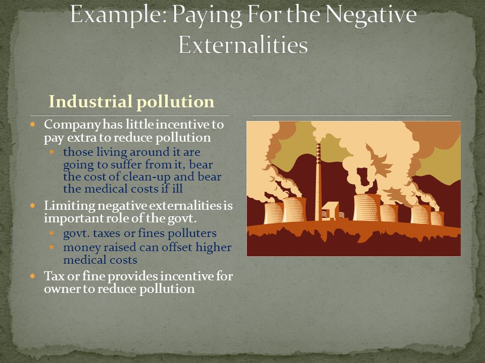 Industrial pollution Company has little incentive to pay extra to reduce pollution those living around it are going to suffer from it, bear the cost o