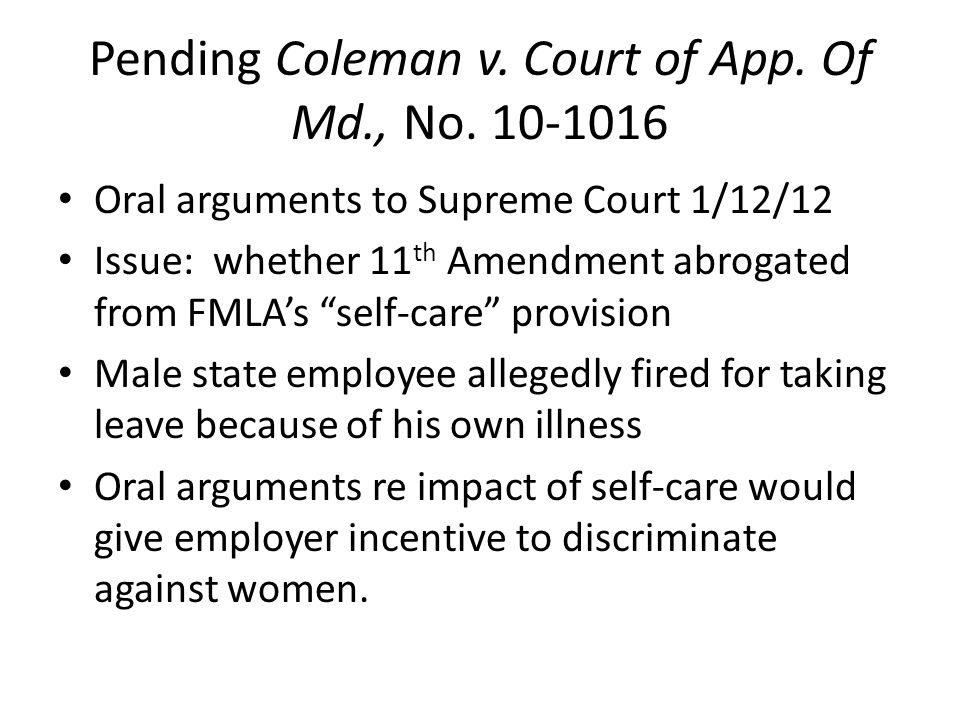 Pending Coleman v. Court of App. Of Md., No.