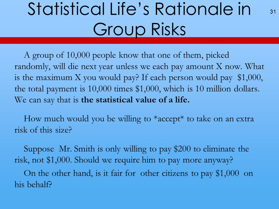 Statistical Life's Rationale in Group Risks A group of 10,000 people know that one of them, picked randomly, will die next year unless we each pay amount X now.