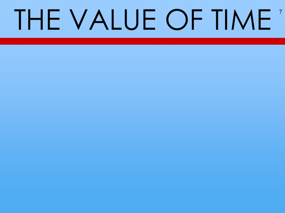 THE VALUE OF TIME 7