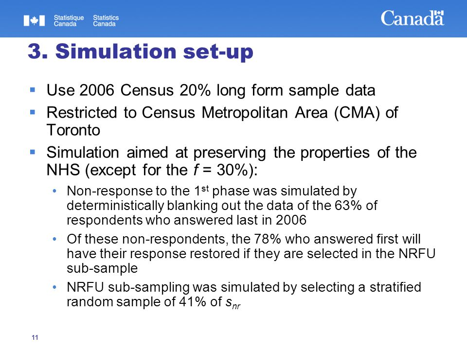 11 3. Simulation set-up  Use 2006 Census 20% long form sample data  Restricted to Census Metropolitan Area (CMA) of Toronto  Simulation aimed at pr