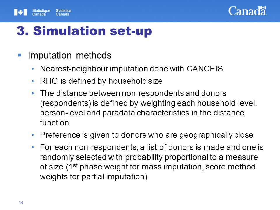 14 3. Simulation set-up  Imputation methods Nearest-neighbour imputation done with CANCEIS RHG is defined by household size The distance between non-