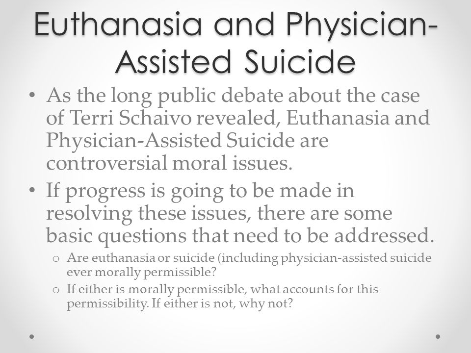 Euthanasia: Some Definitions Euthanasia: …the act or practice of killing or allowing someone to die on grounds of mercy (295).