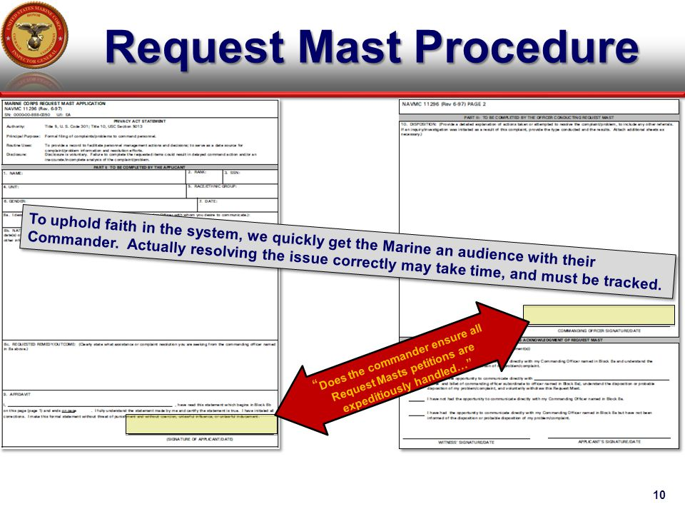 """Request Mast Procedure 10 """" Does the commander ensure all Request Masts petitions are expeditiously handled…"""" To uphold faith in the system, we quickl"""