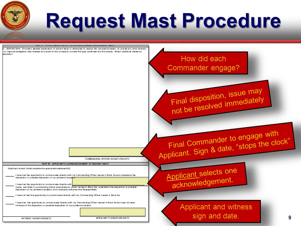 Request Mast Procedure 9 How did each Commander engage? Final disposition, issue may not be resolved immediately Final Commander to engage with Applic