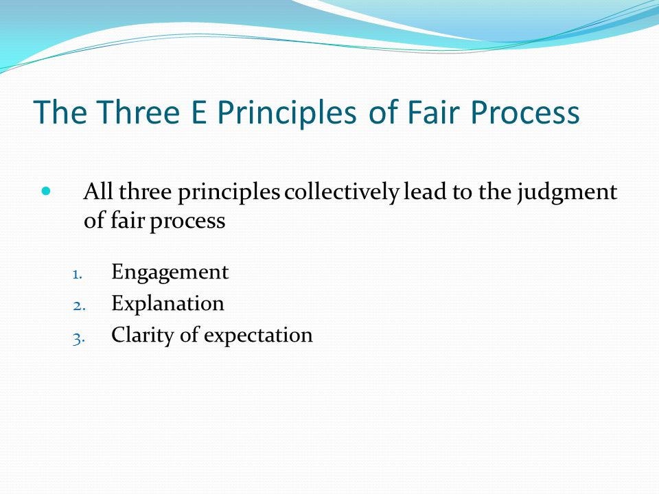 The Three E Principles of Fair Process All three principles collectively lead to the judgment of fair process 1.