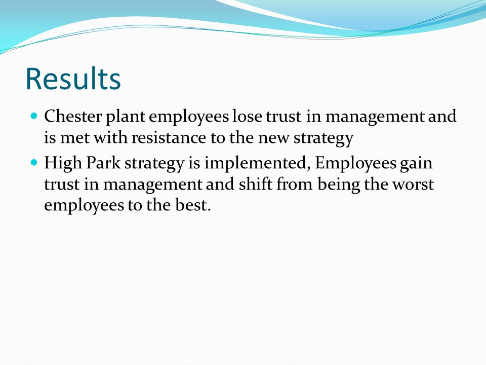 Results Chester plant employees lose trust in management and is met with resistance to the new strategy High Park strategy is implemented, Employees gain trust in management and shift from being the worst employees to the best.