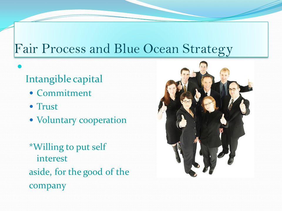 Fair Process and Blue Ocean Strategy Intangible capital Commitment Trust Voluntary cooperation *Willing to put self interest aside, for the good of the company