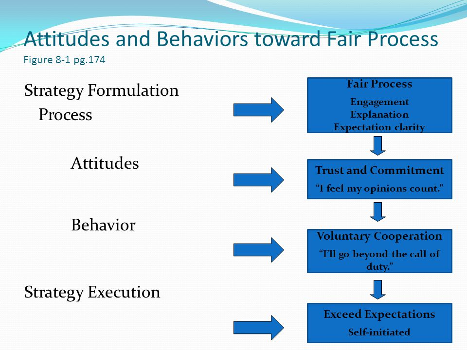 Attitudes and Behaviors toward Fair Process Figure 8-1 pg.174 Strategy Formulation Process Attitudes Behavior Strategy Execution Exceed Expectations Self-initiated Fair Process Engagement Explanation Expectation clarity Trust and Commitment I feel my opinions count. Voluntary Cooperation I'll go beyond the call of duty.