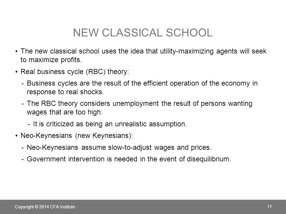 NEW CLASSICAL SCHOOL The new classical school uses the idea that utility-maximizing agents will seek to maximize profits. Real business cycle (RBC) th