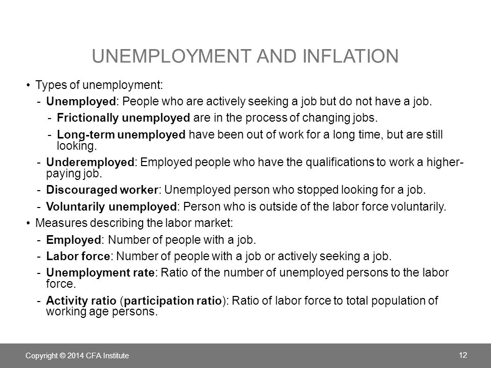 UNEMPLOYMENT AND INFLATION Types of unemployment: -Unemployed: People who are actively seeking a job but do not have a job. -Frictionally unemployed a