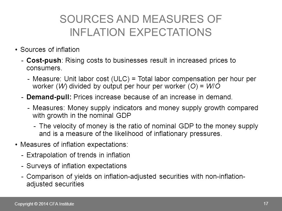 SOURCES AND MEASURES OF INFLATION EXPECTATIONS Sources of inflation -Cost-push: Rising costs to businesses result in increased prices to consumers. -M