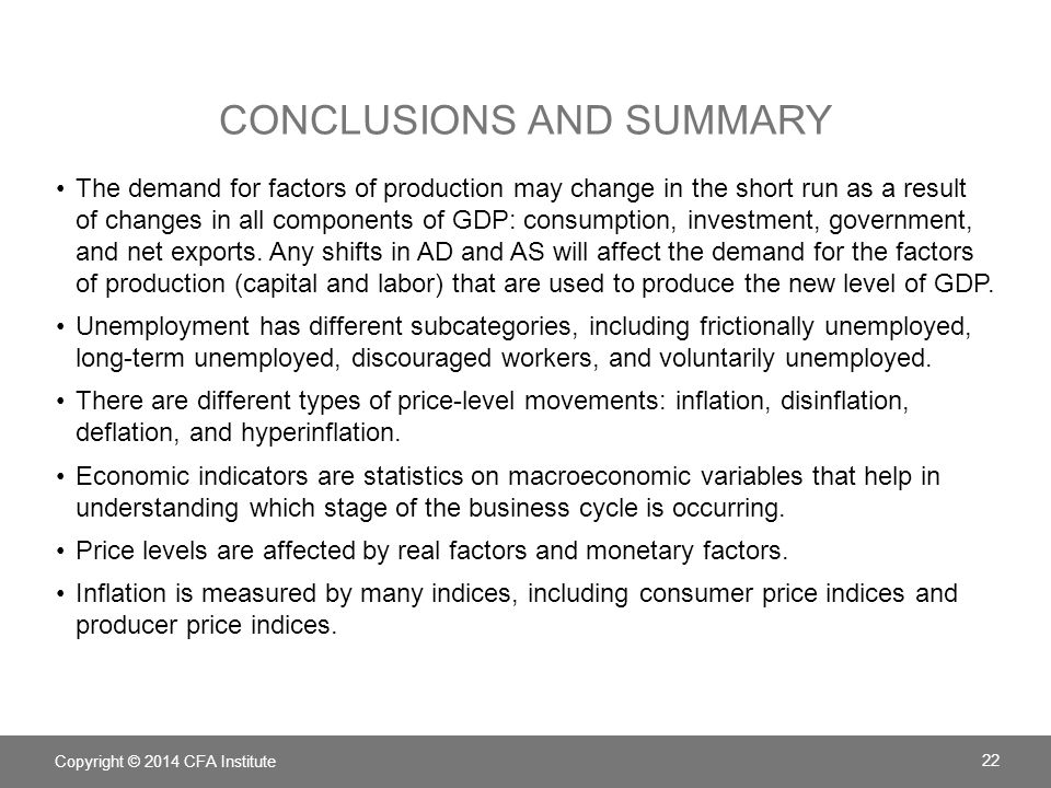 CONCLUSIONS AND SUMMARY The demand for factors of production may change in the short run as a result of changes in all components of GDP: consumption,
