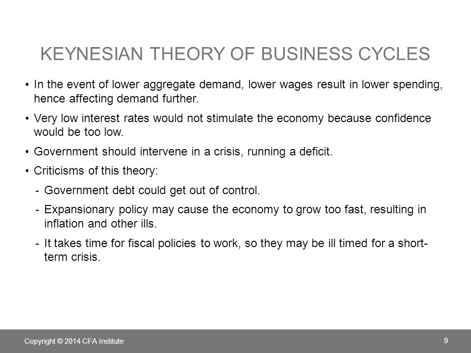 KEYNESIAN THEORY OF BUSINESS CYCLES In the event of lower aggregate demand, lower wages result in lower spending, hence affecting demand further. Very