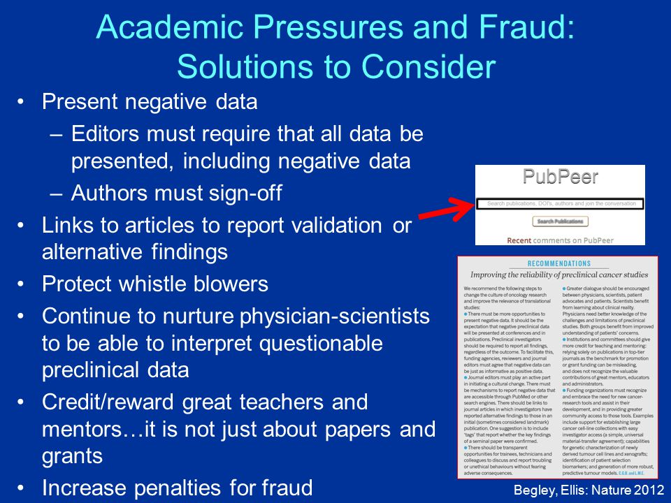 Academic Pressures and Fraud: Solutions to Consider Present negative data –Editors must require that all data be presented, including negative data –Authors must sign-off Links to articles to report validation or alternative findings Protect whistle blowers Continue to nurture physician-scientists to be able to interpret questionable preclinical data Credit/reward great teachers and mentors…it is not just about papers and grants Increase penalties for fraud Begley, Ellis: Nature 2012