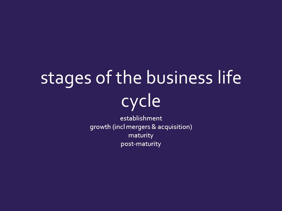 stages of the business life cycle establishment growth (incl mergers & acquisition) maturity post-maturity