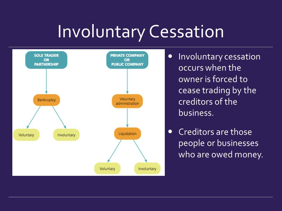 Involuntary Cessation Involuntary cessation occurs when the owner is forced to cease trading by the creditors of the business. Creditors are those peo