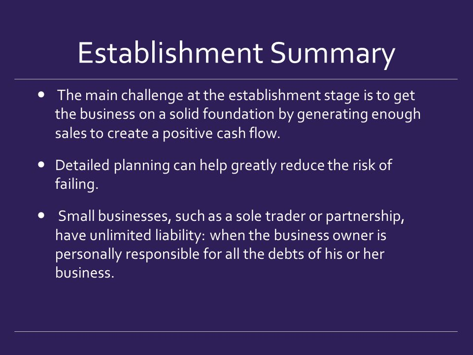 Establishment Summary The main challenge at the establishment stage is to get the business on a solid foundation by generating enough sales to create
