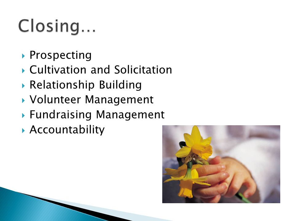  Prospecting  Cultivation and Solicitation  Relationship Building  Volunteer Management  Fundraising Management  Accountability