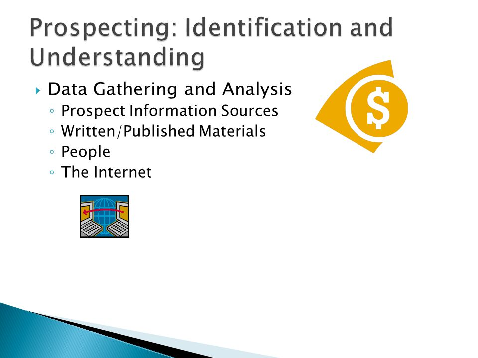  Data Gathering and Analysis ◦ Prospect Information Sources ◦ Written/Published Materials ◦ People ◦ The Internet