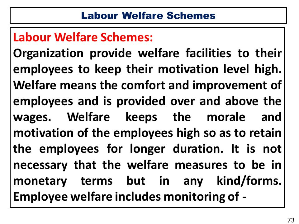 Labour Welfare Schemes Labour Welfare Schemes: Organization provide welfare facilities to their employees to keep their motivation level high.