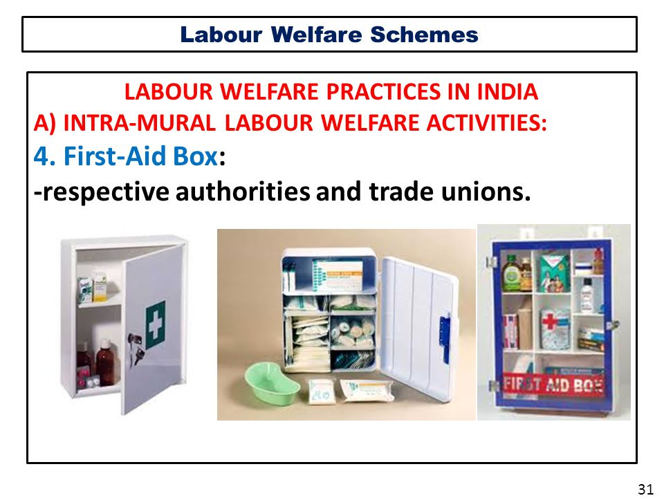 Labour Welfare Schemes LABOUR WELFARE PRACTICES IN INDIA A) INTRA-MURAL LABOUR WELFARE ACTIVITIES: 4.