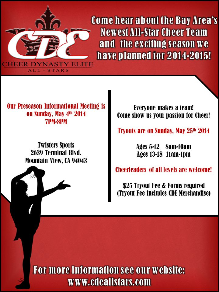 Our Preseason Informational Meeting is on Sunday, May 4 th 2014 7PM-8PM Twisters Sports 2639 Terminal Blvd.