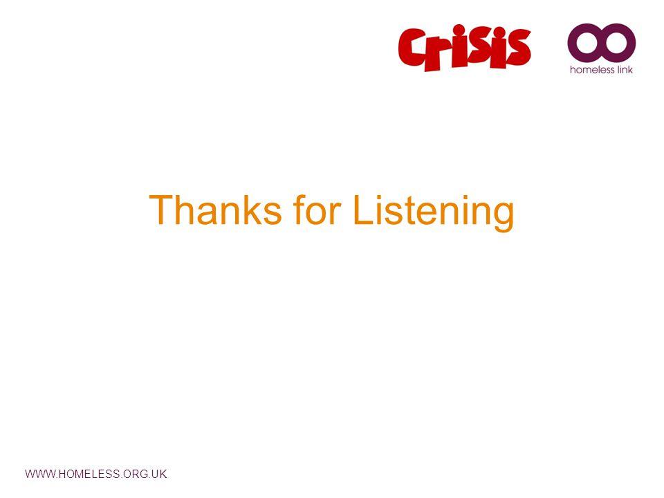WWW.HOMELESS.ORG.UK Thanks for Listening
