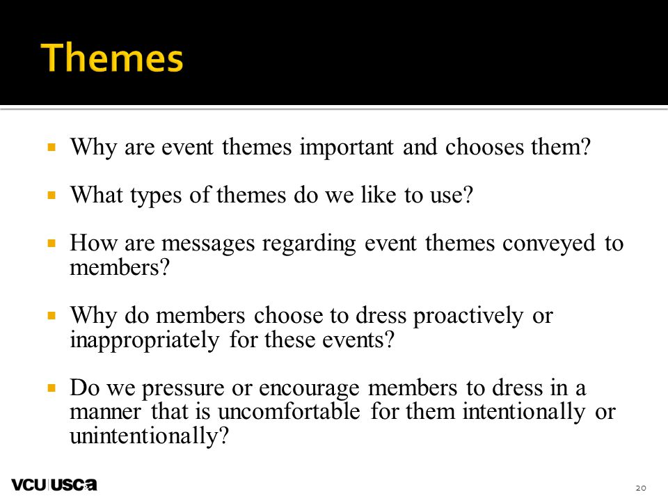  Why are event themes important and chooses them.