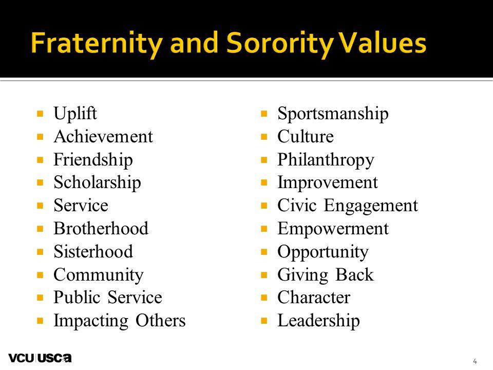  Uplift  Achievement  Friendship  Scholarship  Service  Brotherhood  Sisterhood  Community  Public Service  Impacting Others  Sportsmanship