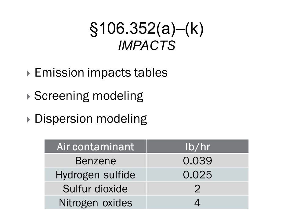 §106.352(a)–(k) IMPACTS  Emission impacts tables  Screening modeling  Dispersion modeling Air contaminantlb/hr Benzene0.039 Hydrogen sulfide0.025 S