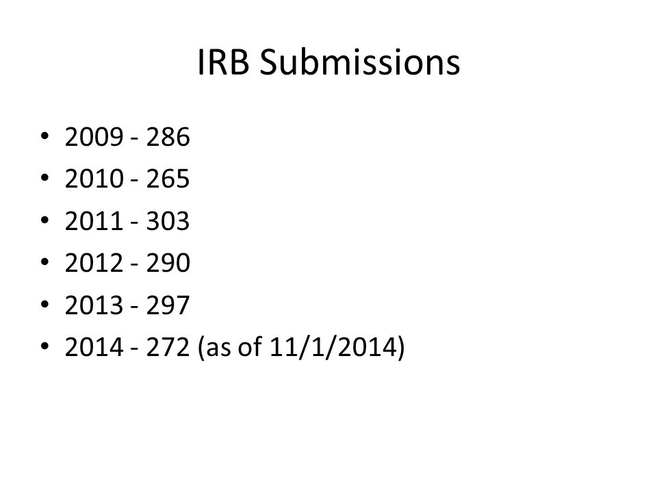 IRB Submissions 2009 - 286 2010 - 265 2011 - 303 2012 - 290 2013 - 297 2014 - 272 (as of 11/1/2014)
