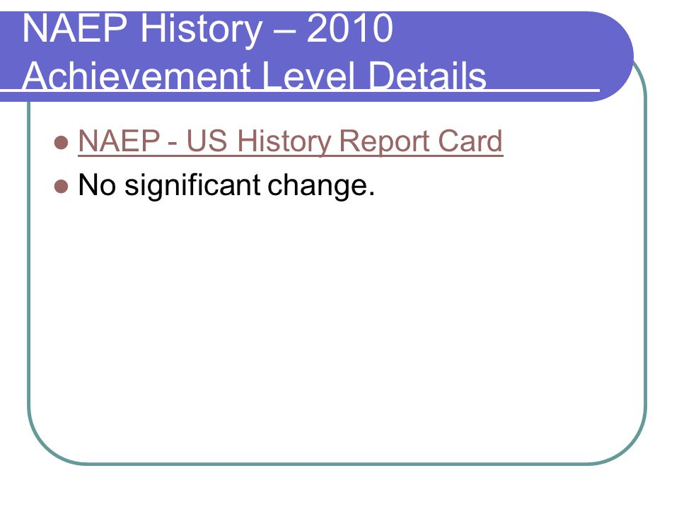 NAEP Civics Achievement Levels: 1994, 2001 Level GRADE 4 1998 2006 GRADE 8 1998 2006 GRADE 12 1998 2006 At Advanced 2% 4%5% At or Above Proficient 23%24%22% 26%27% At or Above Basic 69%73%70% 65%66% Below Basic 31%27%30% 35%34%