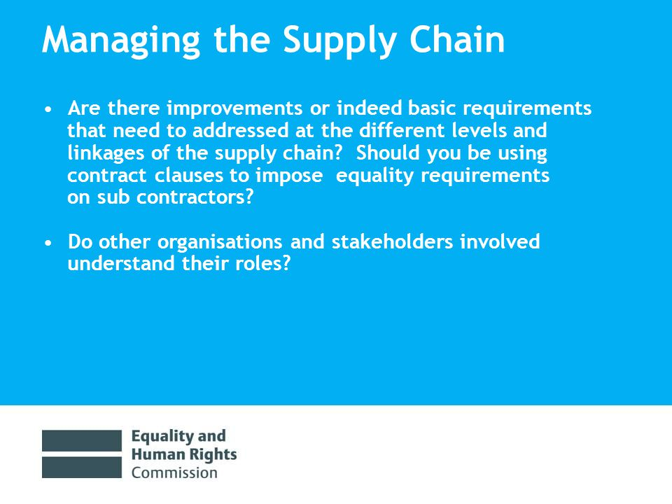 Managing the Supply Chain Are there improvements or indeed basic requirements that need to addressed at the different levels and linkages of the supply chain.