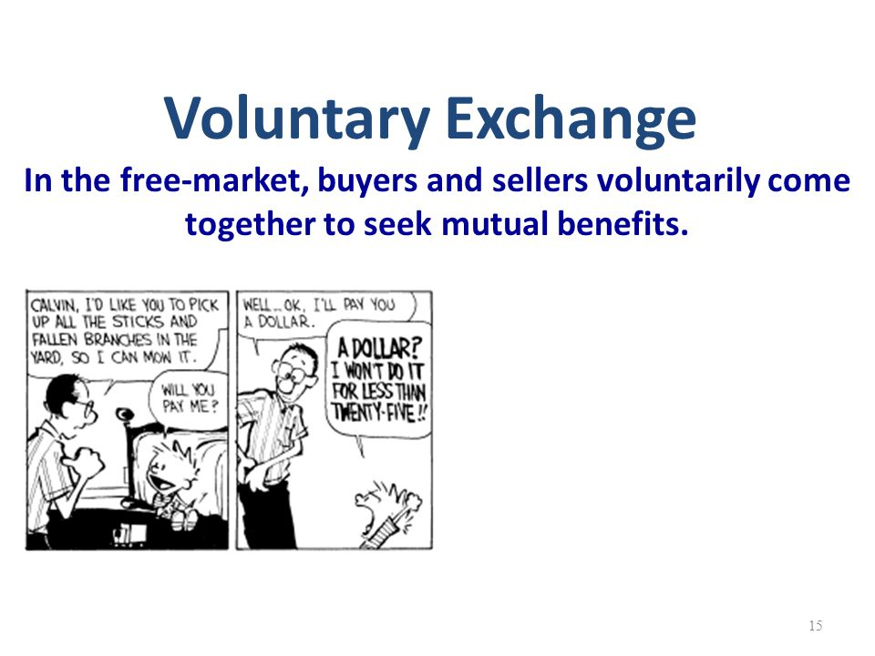 Voluntary Exchange In the free-market, buyers and sellers voluntarily come together to seek mutual benefits.